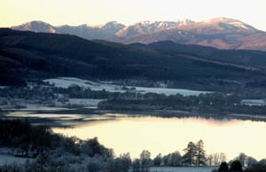 Glen Affric hills from near Shenval B&B in winter